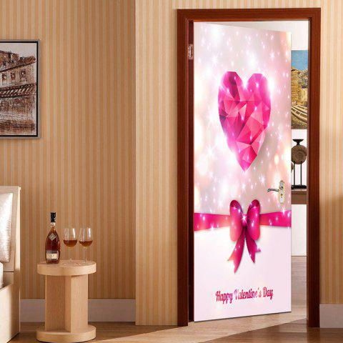 Valentine's Day Heart and Bowknot Pattern Enviromental Removable Door Stickers - PINK 38.5*200CM*2PCS
