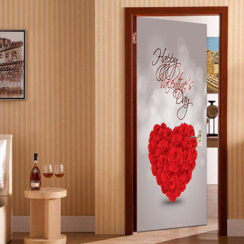 Happy Valentines Day Pattern Door Cover Stickers - RED 38.5*200CM*2PCS