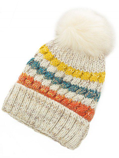 Soft Striped Pattern Slouchy Knitted Pom Beanie - BEIGE