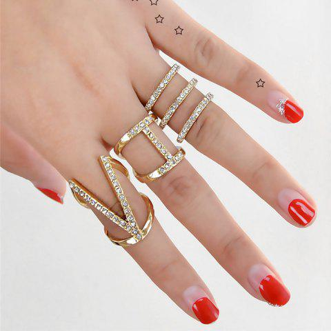Rhinestone Geometric V Finger Cuff Ring Set - GOLDEN