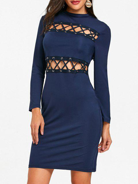 Tight Lace Up Hollow Out Club Dress - PURPLISH BLUE S