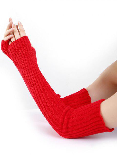 Soft Vertical Striped Pattern Crochet Knitted Arm Warmers - RED