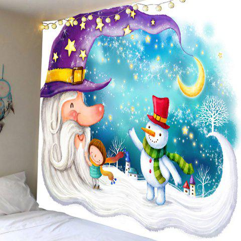 Santa Claus Snowman Moon Wall Hanging - COLORFUL W91 INCH * L71 INCH