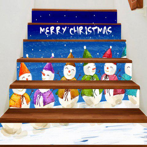 Christmas Smiling Snowmen Team Printed Stair Stickers - COLORFUL 100*18CM*6PCS
