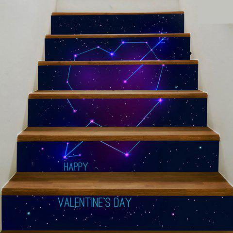 6Pcs Cupid Heart Starry Sky Home Stair Stickers - BLUE 100*18CM*6PCS