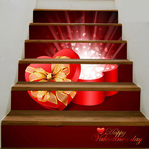 Valentine's Day Heart Shape Gift Box Pattern Decorative Stair Stickers - PINK 100*18CM*6PCS