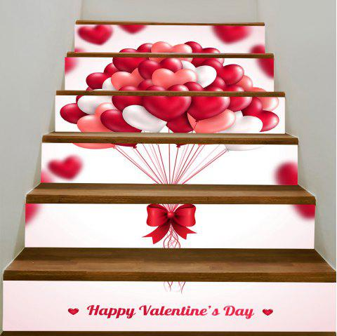 Stickers d'Escalier Amovible Romantique Valentine's Day Heart Balloon - Rose 100*18CM*6PCS