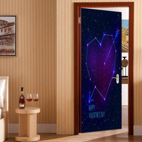 Valentine's Day Heart Starry Sky Door Art Stickers - BLUE/BLACK 38.5*200CM*2PCS