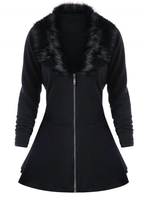 Plus Size Plain Long Sleeve Faux Fur Panel Coat - BLACK 3XL