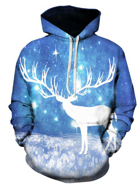 Galaxy Caribou 3D Print Pullover Hoodie - COLORMIX XL