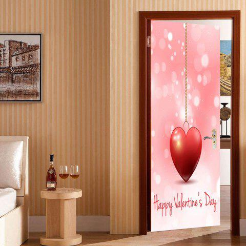 Heart Pattern Valentines Day Door Stickers - PINK 38.5*200CM*2PCS