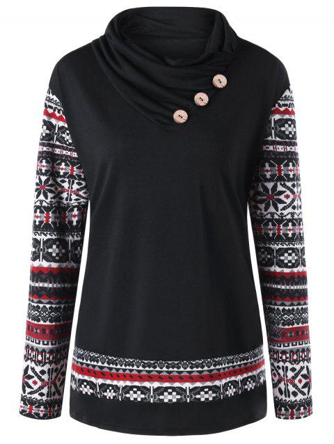 Plus Size Button Embellished Heaps Collar T-shirt - BLACK 2XL