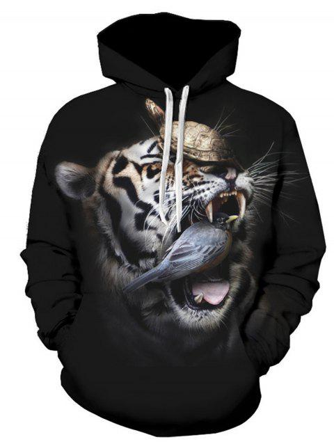 Sweat-Shirt Pull-over à Capuche 3D Tortue Oiseau et Tigre Imprimé - multicolore 2XL