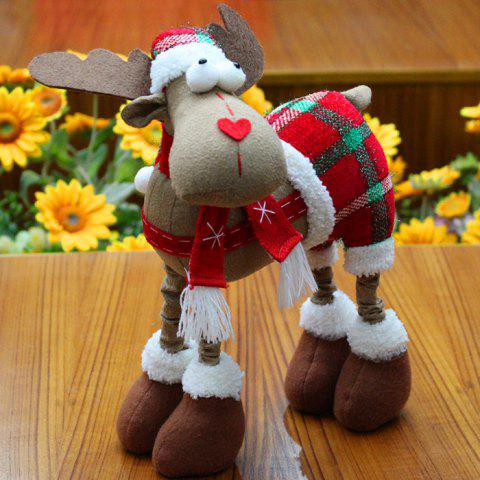 Plaid Trousers Elk Cloth Doll Ornament Christmas - RED