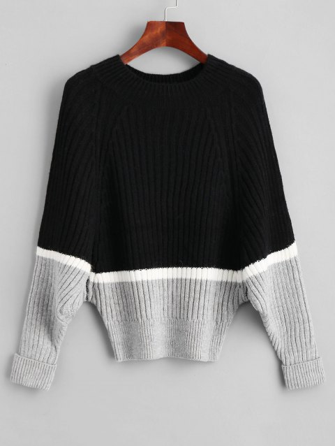 Color Block Raglan Sleeve Batwing Sweater - BLACK ONE SIZE