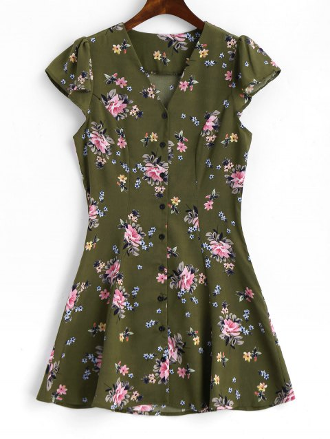 Button Up Cap Sleeve Floral Mini Dress - ARMY GREEN L