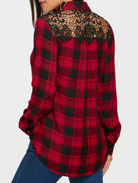 Long Sleeve Lace Panel Tartan Plaid Shirt - BLACK/RED 2XL