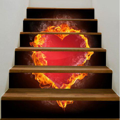 Valentine Burning Heart Printed Enviromental Decorative Stair Stickers - RED 100*18CM*6PCS