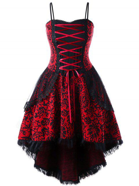 Plus Size Layered Dip Hem Corset Dress - RED 2XL
