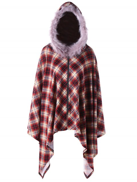 Plus Size Plaid Hooded Poncho Coat - RED 3XL