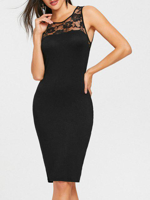 Lace Panel Sleeveless Pencil Dress - BLACK 2XL