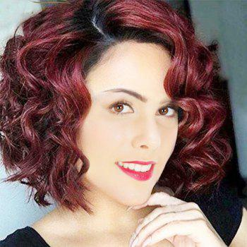 Short Ombre Side Parting Wavy Synthetic Wig - RED WITH BLACK RED/BLACK