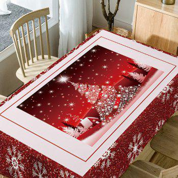 Christmas Tree Snowflakes Print Waterproof Table Cloth - RED W60 INCH * L84 INCH