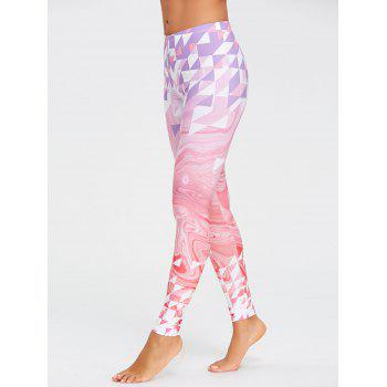 Yoga Fresh Geometric Pattern  Leggings - PINK PINK