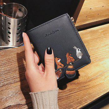 Animal Pattern Embroidery Wallet - BLACK