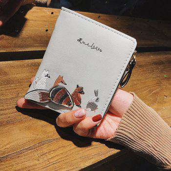 Animal Pattern Embroidery Wallet - GRAY