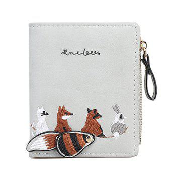 Animal Pattern Embroidery Wallet - GRAY GRAY
