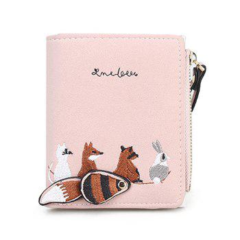 Animal Pattern Embroidery Wallet - PINK PINK