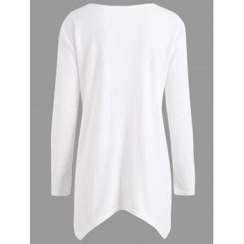 Plus Size  Ribbed Knit  Asymmetric Sweater - WHITE 4XL