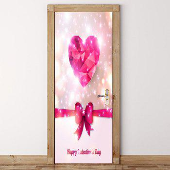 Romantic Heart and Bowknot Pattern Enviromental Removable Door Stickers - PINK 38.5*200CM*2PCS
