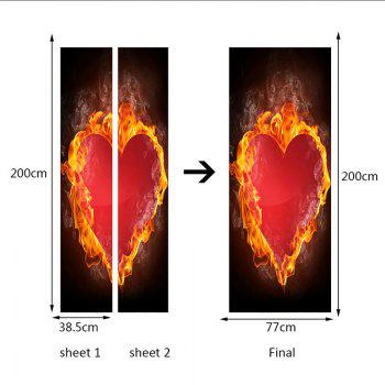 Valentine's Day Burning Heart Print Enviromental Removable Door Stickers - RED 38.5*200CM*2PCS