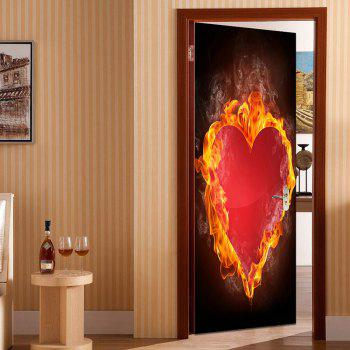 Burning Heart Print Enviromental Removable Door Stickers - RED RED