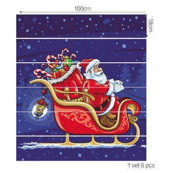 Christmas Santa Claus Drives A Sleigh Print Stair Stickers - RED 100*18CM*6PCS