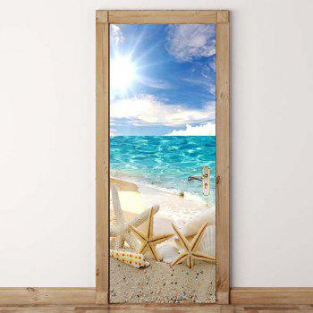 Beach Starfish Pattern Environmental Removable Door Stickers - COLORFUL 38.5*200CM*2PCS