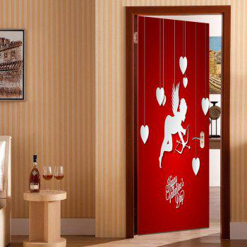 Romantic Cupid and Heart Pattern Door Stickers - RED RED