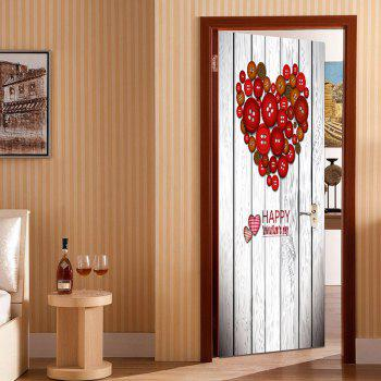Button Heart Shape Decoration Door Cover Sticker - RED RED