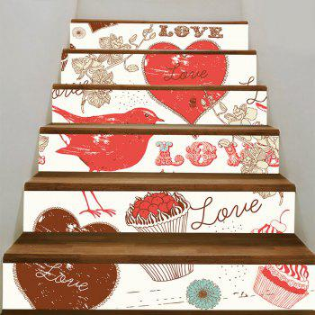 Love Heart and Dessert Pattern Stair Stickers - COLORFUL COLORFUL