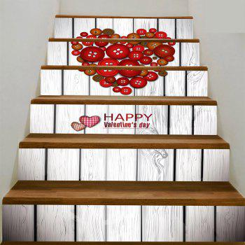 Button Heart Shape Decoration Stair Decals - RED BROWN RED BROWN