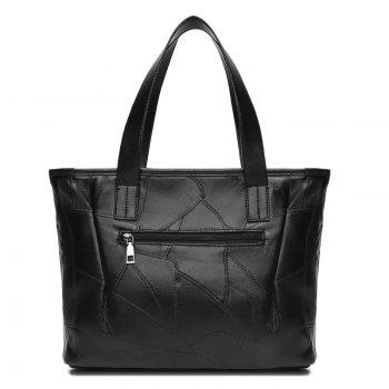 Quilted PU Leather Stitching Shoulder Bag - BLACK