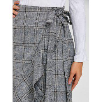 High Waisted Ruffled Plaid Wrap Skirt - GRAY ONE SIZE