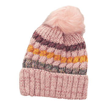 Soft Striped Pattern Slouchy Knitted Pom Beanie - PINK