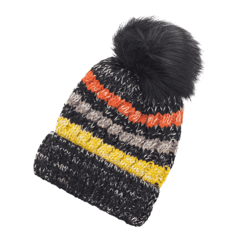 Soft Striped Pattern Slouchy Knitted Pom Beanie - BLACK