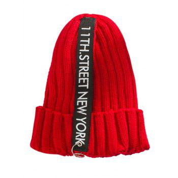 Outdoor Rings Embellished Thicken Knitted Beanie - RED RED