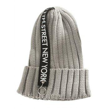 Outdoor Rings Embellished Thicken Knitted Beanie - GRAY GRAY