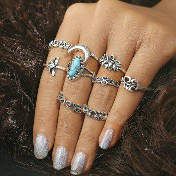 Faux Turquoise Mermaid Tail Elephant Ring Set - SILVER SILVER