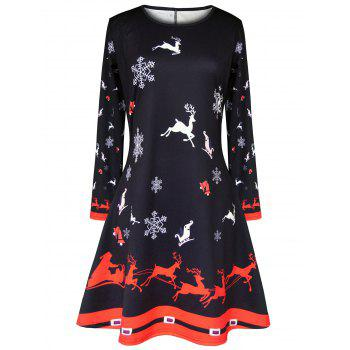 Christmas Elk Snowflake Printed Dress
